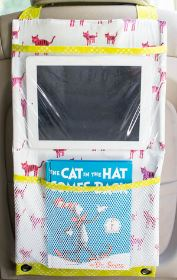 Hanging car seat organizer with clear tablet pocket free sewing pattern