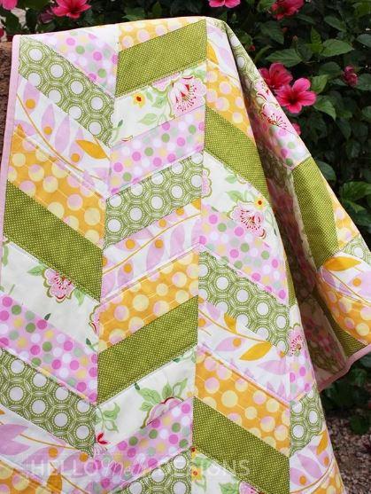 Easy herringbone quilt free pattern