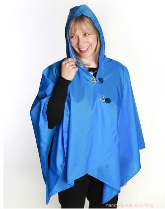 Easy rain poncho with hood free sewing pattern