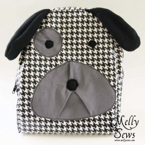 Hound dog shaped kid's backpack free sewing pattern