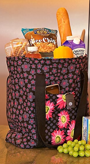 Flat bottom insulated shopping grocery tote bag free pattern