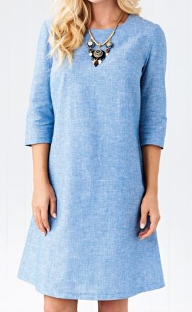 Womens three-quarter sleeve shift dress free sewing pattern