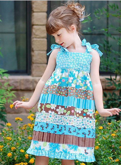 Girls sundress from jelly roll strips free sewing pattern