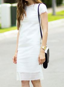 Womens short sleeve sheath dress with lace sewing pattern