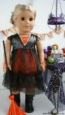 American girl 18 inch doll sheer high waist Halloween dress free sewing pattern