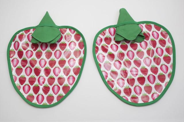 Laminated strawberry shaped placemats free sewing pattern