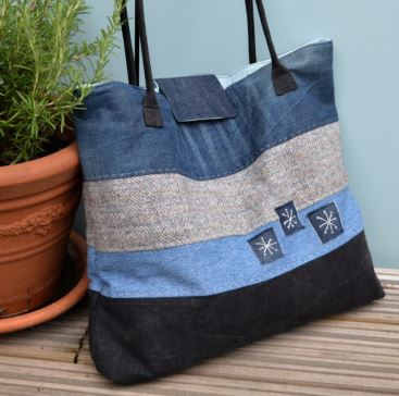 Large striped patchwork denim tote bag sewing pattern