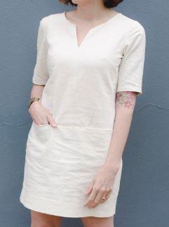 Womens short sleeve notched collar shift dress free sewing pattern
