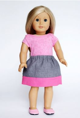 American girl 18 inch doll gathered skirt free sewing pattern