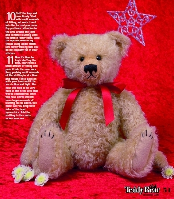 Vintage style jointed teddy bear free sewing pattern