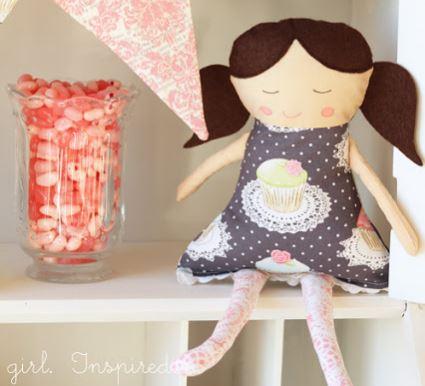 Girl fabric rag doll free sewing pattern