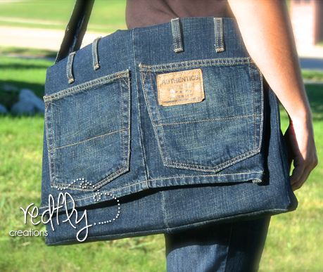 Denim bag from jeans sewing pattern