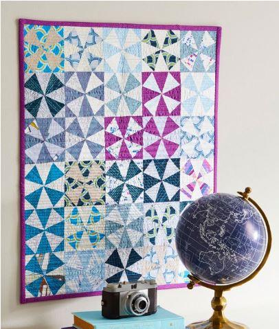 Modern pinwheel mini quilt free pattern