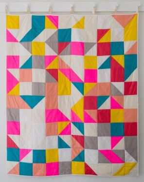 Modern quilt with squares and triangles free pattern