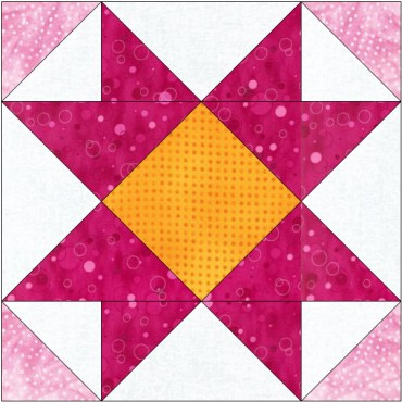 Mosaic star free quilt block pattern