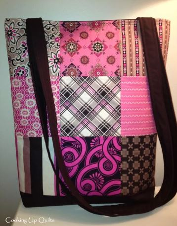 Quilted nine patch tote bag with zipper close free sewing pattern