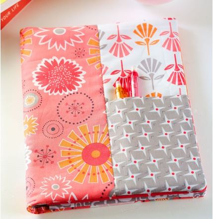 Fabric notebook cover from fat quarters free sewing pattern