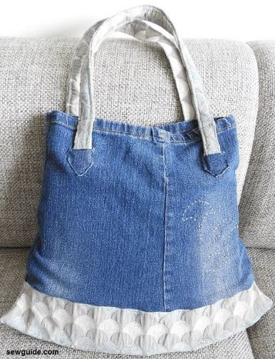 Denim bag purse from old jeans sewing pattern