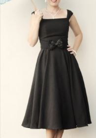 Sleeveless 1950s vintage formal black dress free sewing pattern