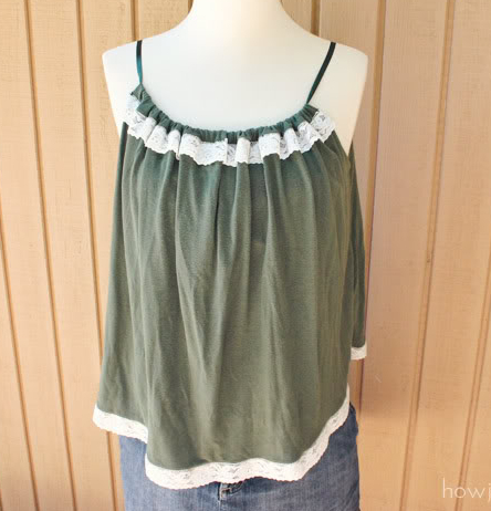 Womens casual sleeveless top with spaghetti straps and ruffle sewing patern