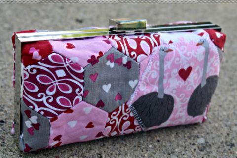 Fabric wallet with metal frame closure and hexagon embellishment free sewing pattern