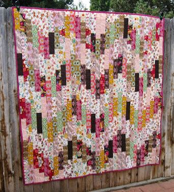 Chevron strip quilt from jelly roll fabric strips free pattern