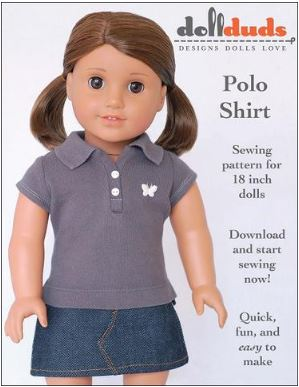 American girl 18 inch doll polo shirt free sewing pattern
