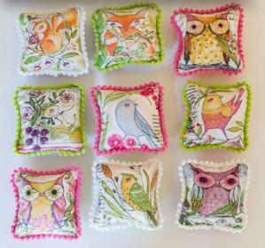 Pom pom fabric pincushions free sewing pattern
