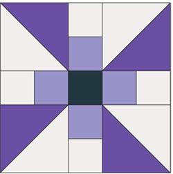 Pinwheel propeller free quilt block pattern