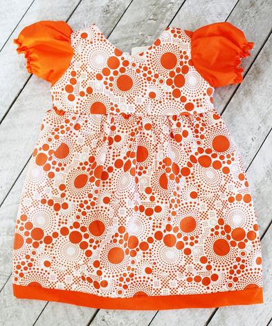 Toddler dress with puff short sleeves free sewing pattern