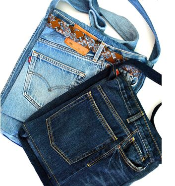 Handbag from old blue jeans free sewing pattern