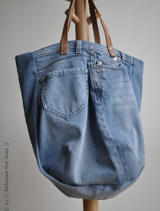 Denim tote bag from old jeans sewing pattern