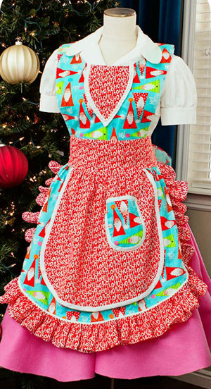 Vintage retro full apron with ruffles free sewing pattern