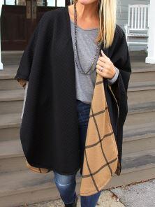 Long reversible poncho cape free sewing pattern