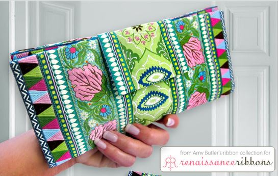 Fabric foldover wallet with ribbon free sewing pattern