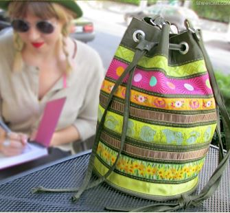 Bucket bag with grommets free sewing pattern