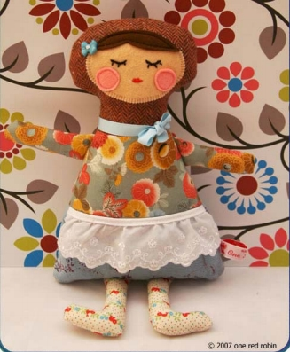 Felt fabric girl rag doll free sewing pattern