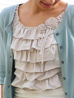 Womens knit t-shirt with ruffled front sewing pattern