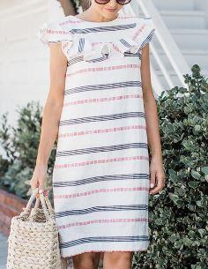 Womens sleeveless shift dress with ruffle yoke free sewing pattern
