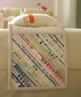 Armrest sewing organizer with pincushion from fabric scraps free pattern