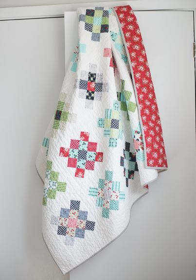 Granny squares scrappy quilt free sewing pattern