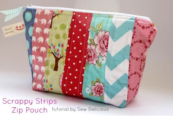 Zipper pouch bag from strips of fabric scraps sewing pattern