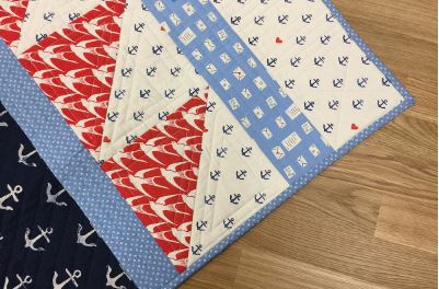 Baby boy quilt with sea design free pattern