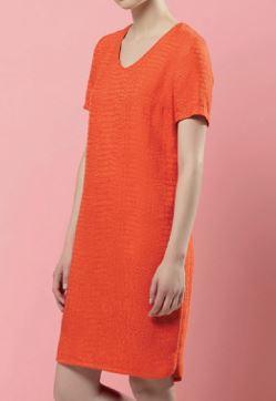 Womens short sleeve v-neck shift dress free sewing pattern
