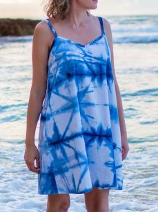 Women's tie dyed sleeveless sundress sewing pattern