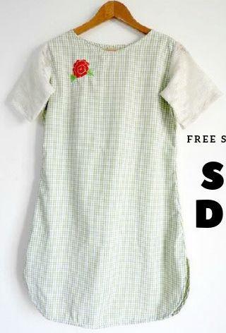 Womens short sleeve shift dress free sewing pattern