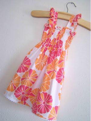 Girls shirred sundress free sewing pattern