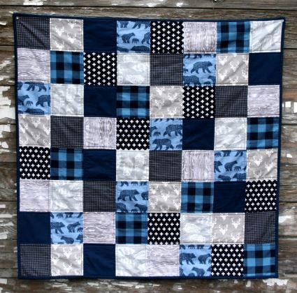 Easy baby boy quilt sewing pattern patchwork square design