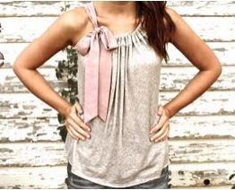 Womens knit sleeveless top or shirt with bow tie sewing pattern