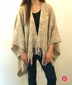 Simple poncho cape with fringe free sewing pattern
